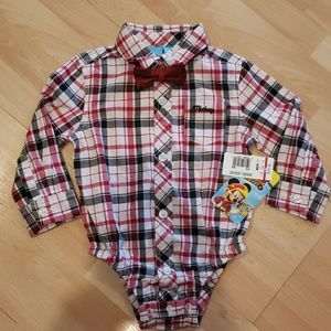 Baby boys button down plaid shirt with neck bow